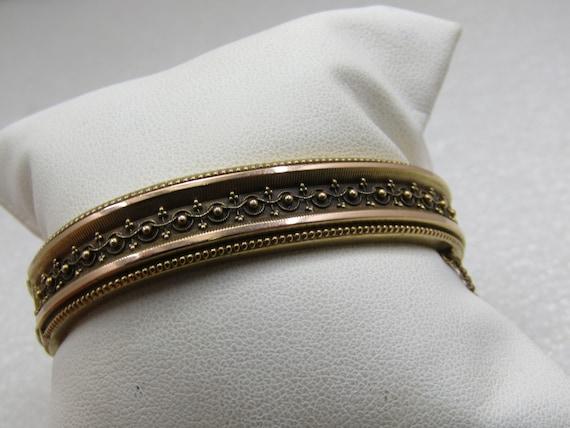 """Vintage 14kt Hinged Etruscan Revival Bangle Bracelet, 6.25"""", 17.60gr"""