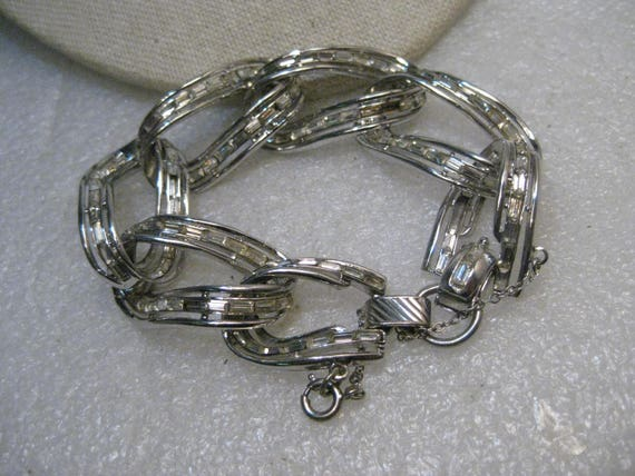 "Vintage Coro Pegasus Baguette Bracelet, Chunky 7"", 3/4"" wide, Safety Chain"