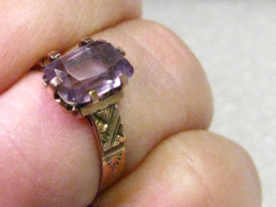 Victorian 12kt Gold Amethyst Promise or Engagement Ring, sz. 8.25