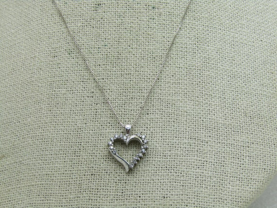 Vintage 10kt Diamond Heart Necklace,  18""