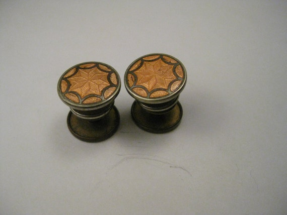 Truly Vintage Pull Apart/Snap Cuff Links, Copper Enameled Star Design, Silver Tone and Brass, early 1900's