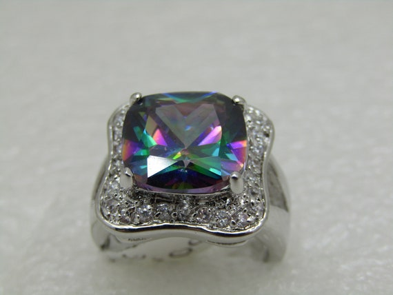 Mystic Topaz & CZ Statement Ring, Size 6, appx 17mm square, Silver Tone