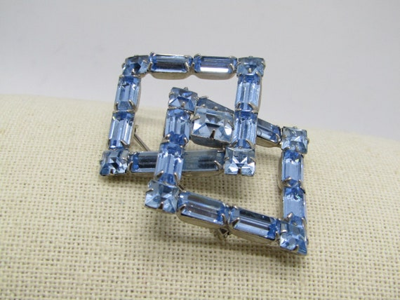 Vintage Weiss Blue Rhinestone Framed Brooch, Baguettes and Square - 1950's-1960's