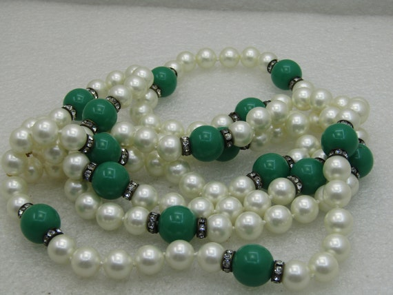 "Vintage 52"" Faux Pearl & Faux Jade Necklace with Rhinestone Rondelles"