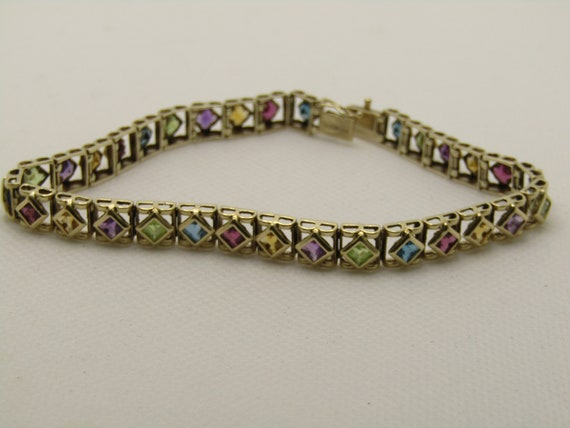 "Vintage 14kt Mixed Gemstone Tennis Bracelet, Square Links, 8"", 6.5mm Wide"