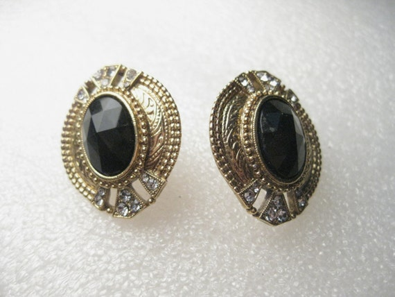 "Vintage 1980's Edwardian Style Black Cut Oval Stone Pierced Earrings with Clear Rhinestones.  1.25"" Long."