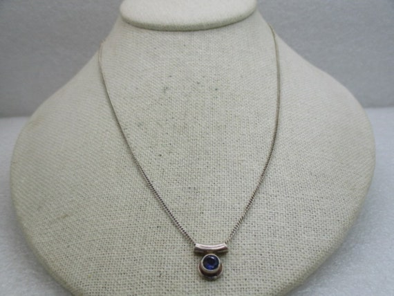 Vintage Sterling Amethyst Slide Necklace, 18""
