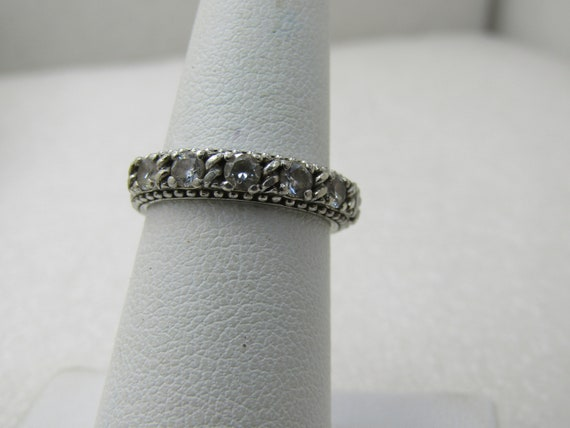 Vintage Judith Ripka Sterling CZ Band Ring, Sz. 6, Stackable, 4mm