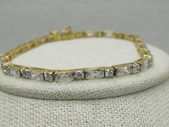 "Sterling Vermeil CZ Tennis Bracelet, 7.5"", 38 CZs, 3mm Wide"