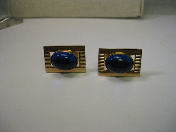 Vintage Gold Tone Blue Jelly Cabochon Cuff Links, Art Deco Style