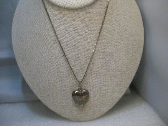 "Vintage Sterling Silver Heart Necklace/Choker, 16"" Box Chain, Puffy Heart"