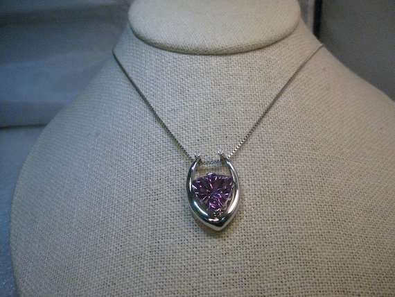 "Sterling Modern Horseshoe Amethyst Necklace, Diamond Accents Sterling Silver, 18"" Box Chain"