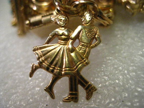 """Vintage 14kt Solid Gold Square Dancing Couple Charm or Pendant, 2.40 3/4"""" tall, signed G, Mid-Century"""