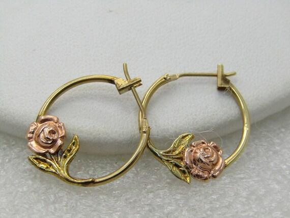 """Vintage 14kt Black Hills Gold Two-Tone Rose Hoop Earrings, 3/4"""""""