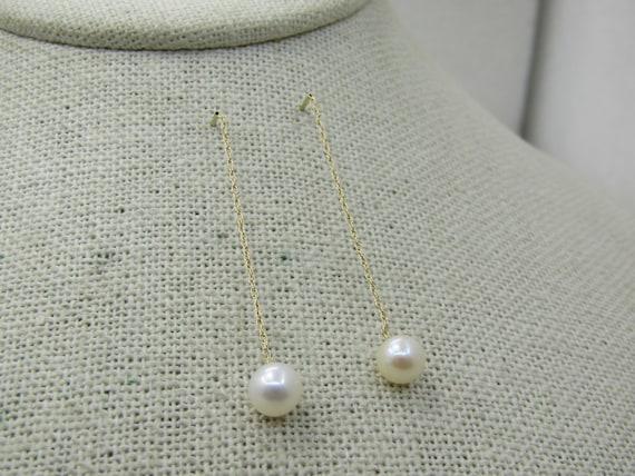 Vintage 14kt 6mm Pearl Threader Earrings, Signed AZ