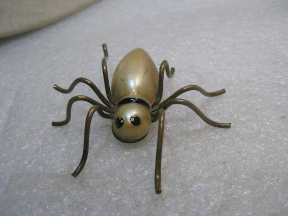"Vintage Spider Brooch, Brass Legs, Pearly White Body with Black Painted Eyes, 2.5"", C-Clasp, 1910'-1920's"