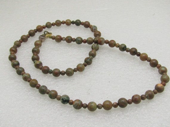 "Southwestern Jasper/Agate Beaded Necklace, Possibly Unakite - 24"", 8mm beads"