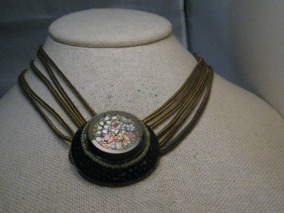 "Vintage Micro Mosaic Multi-Strand Necklace, 14.5"", Wheat Link, 1920's-1930's - Gilded Brass"