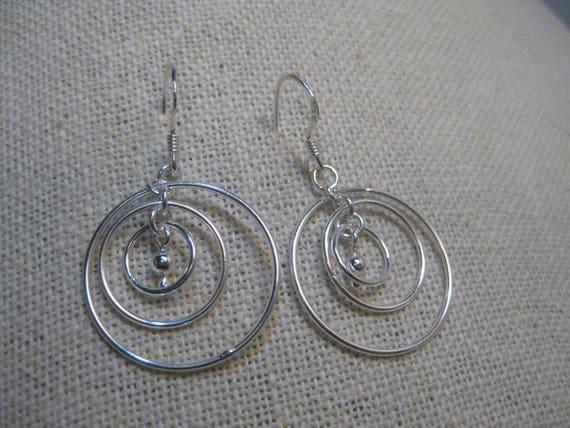 """Sterling Silver Nesting Hoop Earrings, Pierced, Mobile Style, 3 Hoops, 3.12 grams, 1.5"""" long, 1"""" wide"""