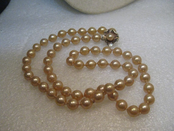 "Vintage 8mm Knotted Pearl Necklace, Dogwood Blossom Box Clasp, 23.5"", Mid-Century"