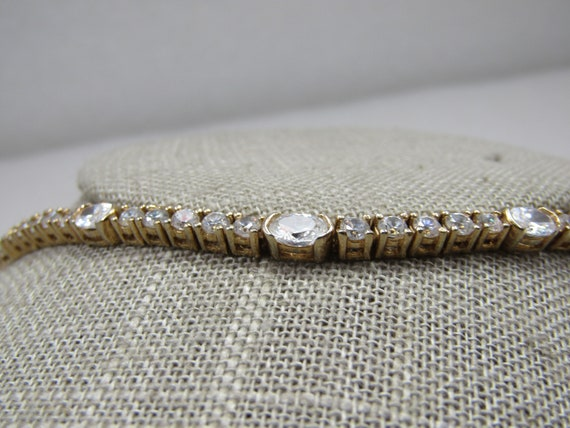 """Vintage Marked 14kt CZ Tennis Bracelet, 7""""."""
