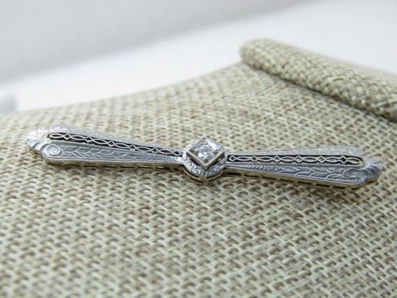 "14k Edwardian Filigree Diamond Bar Pin 10 point diamond. 2-3/8"" wide. 2.2 dwt."