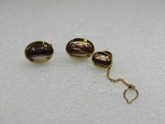 Vintage Brown Cateye Cuff Links & Tie Tack Set, 1960's