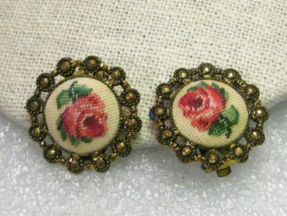 Vintage Rose Tapestry Clip Earrings, 1930-1940's, Brass, Goldtone, 1""