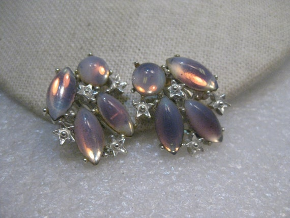 Vintage Faux Opal Clip Earrings, Marquise, Silver Tone, 1960's