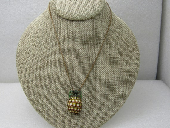 "Vintage Sterling Champleve Pineapple Necklace, 16"" Wheat Link Chain"