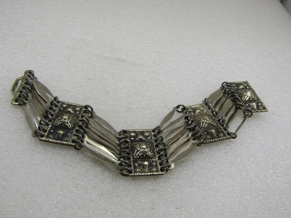 """Vintage Mexican Aztec Themed Wide Bracelet, 7.5"""" Signed Taxco Mexico"""