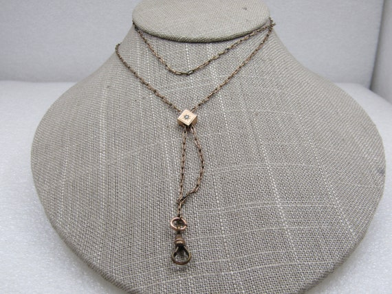 """Victorian 14kt G.F. Watch Slide Chain Necklace, 30"""" .  Signed CLB & Co."""