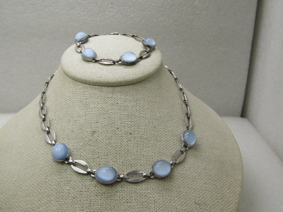 Vintage Sterling Blue Moonstone Necklace & Bracelet Set, WRE W.E. Richards, Mid-Century Modern