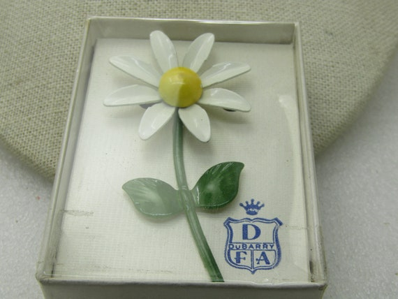 "Vintage Dubarry White Daisy Brooch,  In Original Box, 1960's, 3"" by 1.5""."