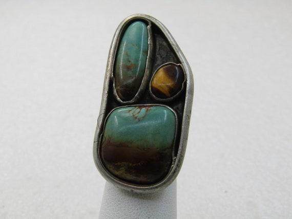 Vintage Southwestern Turquoise Statement Ring, Unisex, Sz. 4. 1960's-1970's