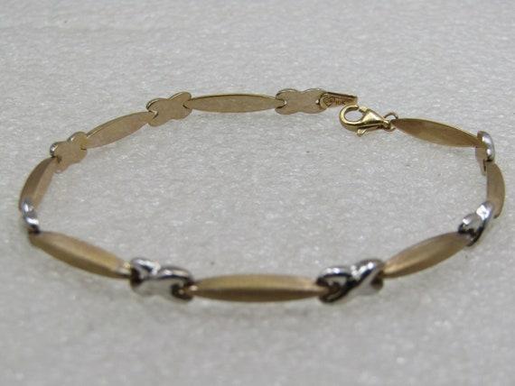 """Vintage 10kt Two-Tone X Bar Link Bracelet, 7.5"""" Signed OR"""