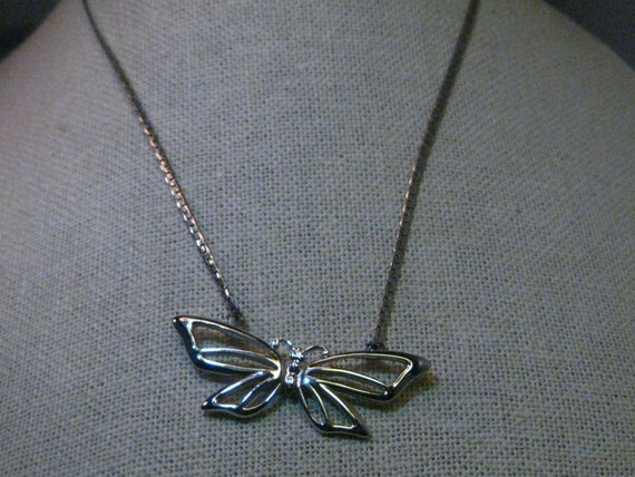 "Vintage  Silver Tone Butterfly Choker/Necklace, Crown Trifari, 16""  Herringbone Chain"