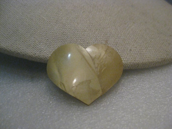 "Vintage Celluloid Heart Brooch, Pearly Tan, 1930's-1940's, 1.25"", C-clasp"