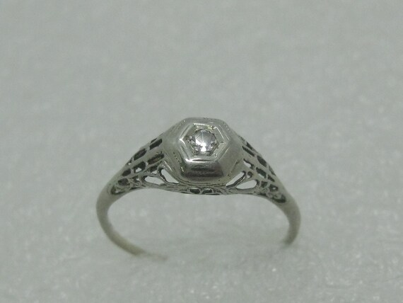 14kt Art Deco Diamond Engagement Ring,  Sz. 7.5, White Gold, 1920's-1930's, Filigree