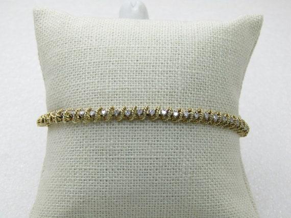 "Vintage 10Kt Diamond Tennis Bracelet, 7.25"",  4.4mm wide,"