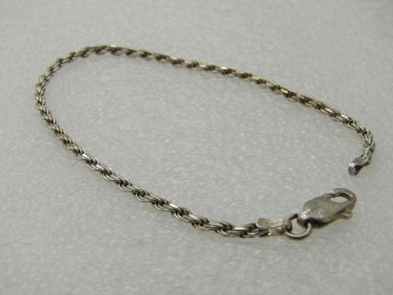 "Vintage Sterling Silver Rope Chain Bracelet, 7"", 2mm, Unisex"