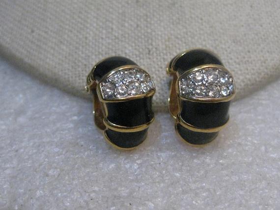 Vintage Nina Ricci Black Clip Earrings, Rhinestone Band, Half-Hoops,  Tuxedo