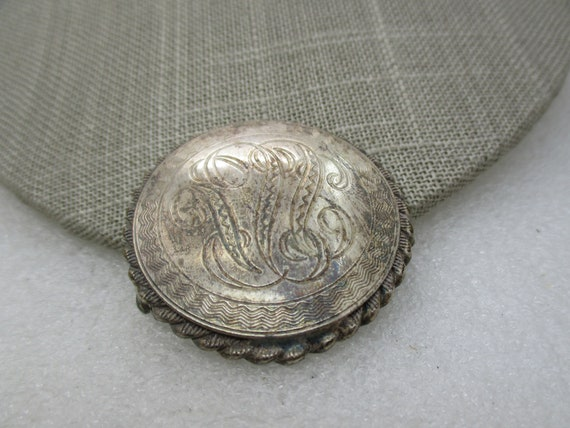 "Vintage Sterling Silver Engraved Brooch, Scrolled, 1.75"", 1950's"