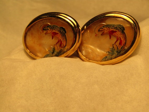 Vintage Fly Fishing Cuff Links, Trout, Oval, 1950's-1960's, Gold Tone, 1-1/8""