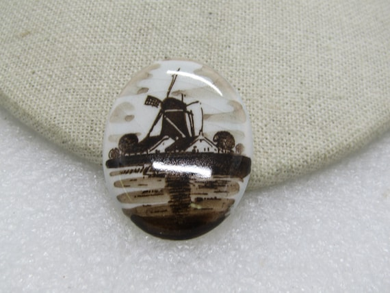 "Vintage Sepia Windmill Porcelain Brooch, Oval, 1.5"" Long, 1950's-1960's"