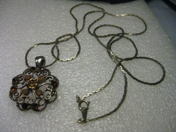 "Vintage 1980-1990 Silvertone Filigree Pendant with Rhinestones on 30"" serpentine chain signed Japan"