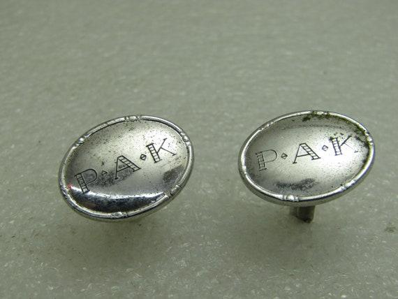 Vintage Dolan Bullcok Sterling Silver Cufflinks, PAK Engraved Cufflinks, Dolan Bullock Signed D.B. Sterling, Appx. 8.27 Gr.