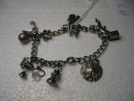 "Vintage 1960's Sterling Silver Charm Bracelet, Summer/Florida/Beach/Vacation Themed, 7"", 11 Charms, Some Move, 26g"