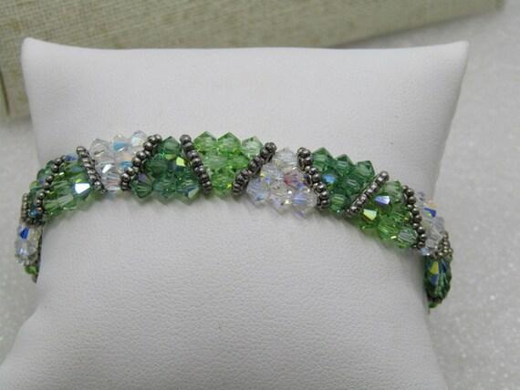 "Swarovski Crystal Beaded Bracelet, Green & Clear, 7.25"", 1/2"" wide, Three Rows"