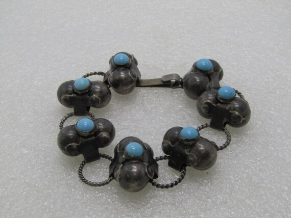 "Vintage Sterling Mexico Primitive Bracelet, Turquoise Glass Beads, Hook Clasp, 8"", 22mm wide, 31.94 grams.  Signed"